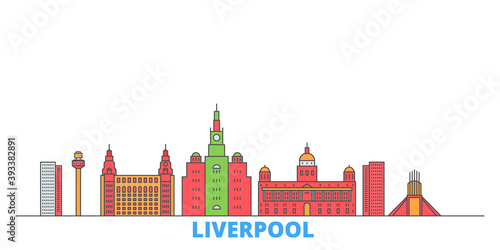 United Kingdom, Liverpool cityscape line vector. Travel flat city landmark, oultine illustration, line world icons