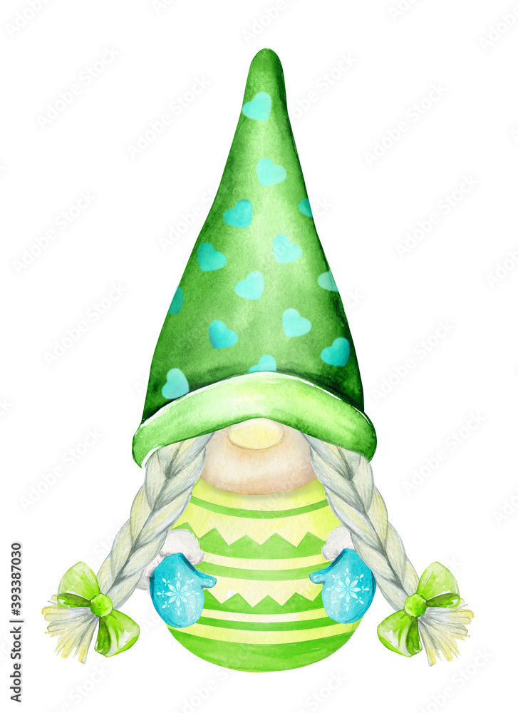 Fototapeta Scandinavian Christmas gnome on an isolated background. Watercolor illustration in cartoon style.