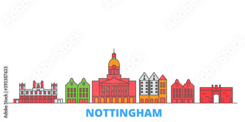 United Kingdom, Nottingham cityscape line vector. Travel flat city landmark, oultine illustration, line world icons