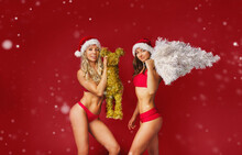 Two Pretty Girls In Red Ready For Christmas
