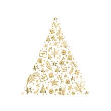 Watercolor Paint Christmas Card Ornaments Pine Tree Gold Metallic Elegant Handmade Painting Bush