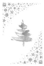 Watercolor Paint Christmas Card Pine Christmas Tree Silver Metallic Elegant Handmade Brush