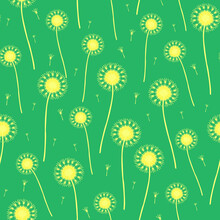 Seamless Vector Pattern With Dandelions On Blue Background. Make A Wish Gentle Wallpaper Design. Decorative Floral Fashion Textile.