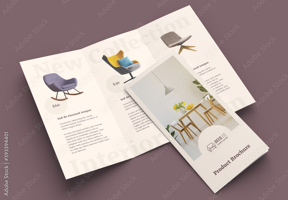 Fototapeta Product Trifold Brochure Layout with Pale Beige Accents