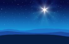 Blue Christmas Nativity Desert Setting Background