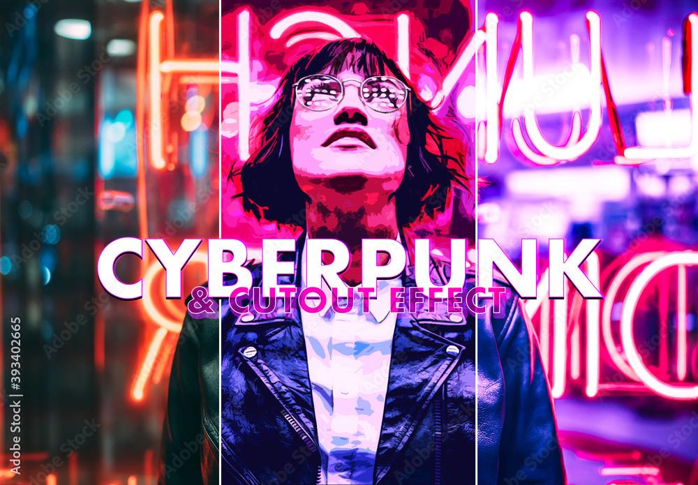 Fototapeta Cyberpunk and Cutout Effect