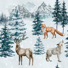 Watercolor Christmas Seamless Pattern With Wild Animals. Hand Painted Mountains, Fox, Deer, Wolf . Winter Wild Life. Tiled Background