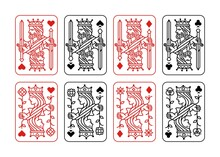 King And Queen Playing Card Vector Illustration Set Of Hearts, Spade, Diamond And Club In Red And Black Color.