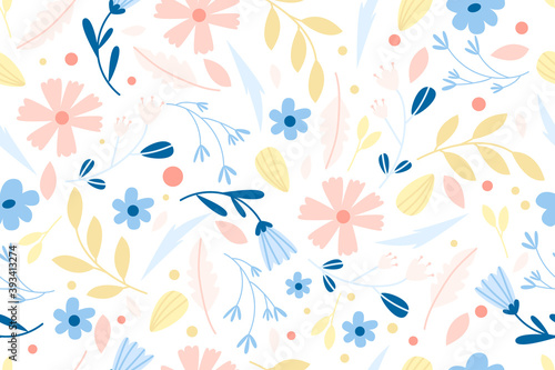 seamless floral pattern with cute modern flowers and leaves