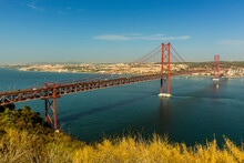 The Bridge Over The Tagus River Named After The 25th April Revolution In Portugal