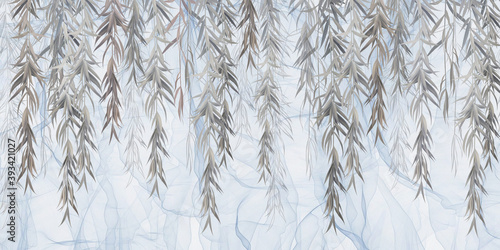 Murale ścienne  photo-wallpaper-wallpaper-mural-design-in-the-loft-classic-modern-style-willow-branches-on-a-blue-background