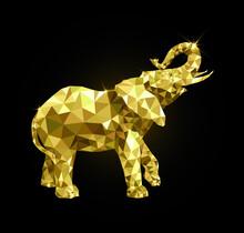 Golden Elephant Consists Of Triangles, Flat Golden Elephant