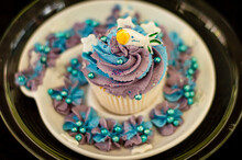 Purple And Blue Decorated Cupcake 2