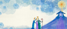 Nativity Scene With Three Wise Men. Watercolor Background.
