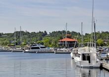Boats At The Marina In Gorebay On Manitoulin Island, Ontario Canada