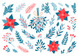 Winter botanical design elements. Set of hand drawn plant twigs, fir branches, berries, mistletoe, poinsettia, holly. Collection of greenery for Christmas design. Vector illustration.