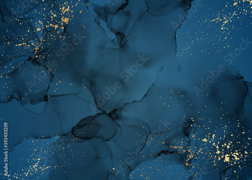 Canvas Print Modern abstract luxury background design or card template for birthday greeting or wallpaper or poster with navy blue watercolor stains or fluid art in alcohol ink style with golden glitter