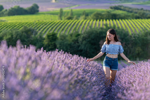 Obraz jeune fille au milieu d'un  champ de lavande - fototapety do salonu