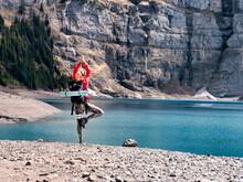 Blonde Yoga Girl At Mountain Lake