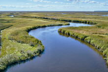 USA, Maryland, Drone View Of Marsh Along Nanticoke River On Eastern Shore