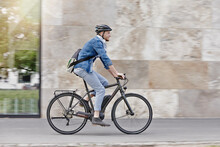 Student On His E-bike At Goethe University In Frankfurt, Germany