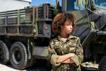 Young Female Army Soldier With...
