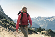 Austria, Tyrol, Smiling Woman On A Hiking Trip In The Mountains