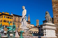 Statue Of Triton In Piazza Della Signoria In Florence, Italy