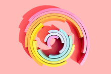 Close-up Of Colorful Wooden Rainbow Toy On Pink Background