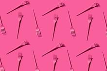 Pattern Of Pink Plastic Forks ...
