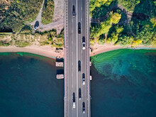 Cars On Bridge Over Volga River At Yaroslavl, Russia