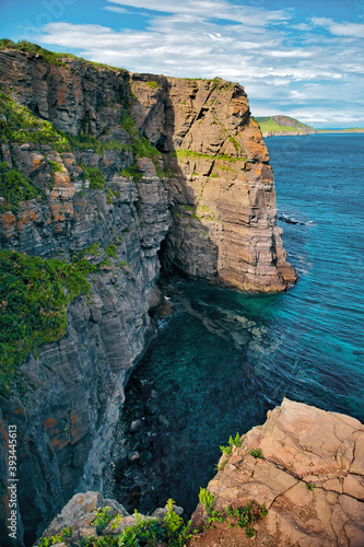 Landscape scenery of russky island and sea against sky at Vladivostok, Russia