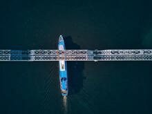 Ship Passing Below Bridge On V...