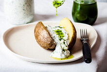Baked Potato With Herb Quark A...