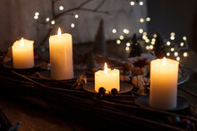 Candles Burning Indoors During...