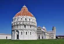 A View Of The Baptistry At Pisa. The Baptistry Is One Of The 4 Structures That Comprise The Duomo At Pisa. In It's Own Right The Baptistry Is A Structure Of Great Beauty And Architectural Detail.