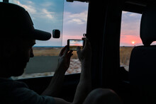 Traveller Using Smart Phone To...