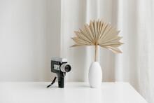 Vintage Camera On White Table ...