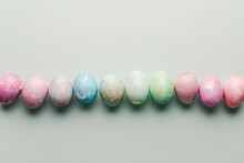 Colorful Dyed Eggs In A Row