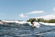 Happy Surfer On Foamy Wave