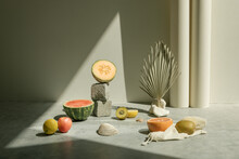 Styled Still Life Of Fruits In...