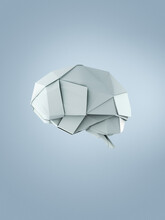 Origami Brain Made Of White Paper
