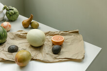 Fruit Laid Out On A Table On Paper Bag