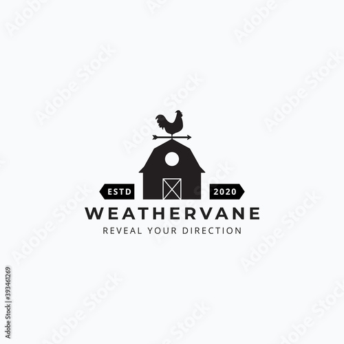 Illustration of rooster weathervane and barn vector good for farm company logo d Poster Mural XXL