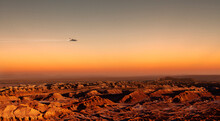 Spaceship Flying Over Planet Mars