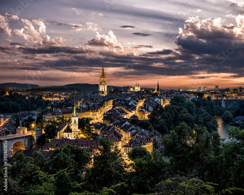 The city of Bern in Switzerland after sunset