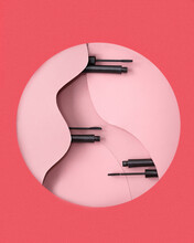 Mascara Tubes And Brushes In Circle