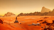 Base And Spaceship On Planet Mars