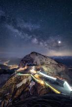 Milky Way Over Pilatus Kulm In Central Switzerland