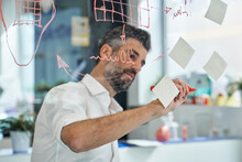 Scientist Designing Face Mask And Writing Graphs On Glass Wall